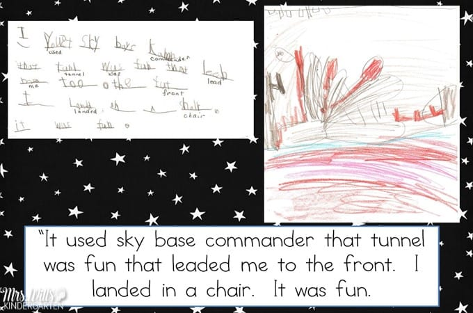 Writers Workshop Science Fiction. My kindergarten students are exploring science fiction in writers workshop. Here is a student sample from February! #writing #kindergartenwriting #writinginkindergarten #writersworkshop