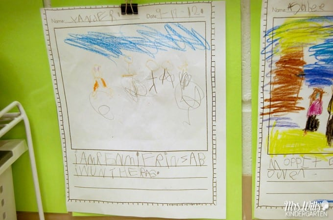 Kindergarten Writing in September. We have made progress in writers workshop. This post will show you how our kindergarten students publish their writing each month.  Take a peek at student writing samples!