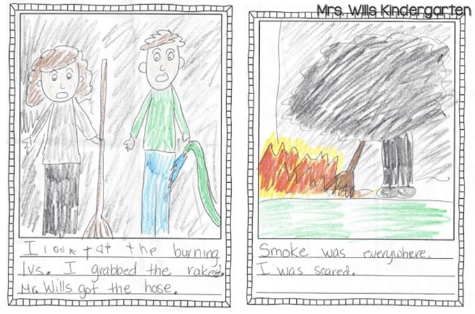 Kindergarten Writing Sample with Fall modeled writing lesson ideas. See a kindergarten student writing sample and the thinking behind kindergarten writing lessons.