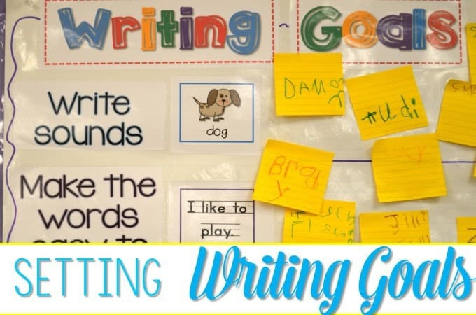 Setting Writing Goals with students in kindergarten in powerful! This is an important part of writers workshop. See how we incorporate writing goals and grab the FREEBIE!