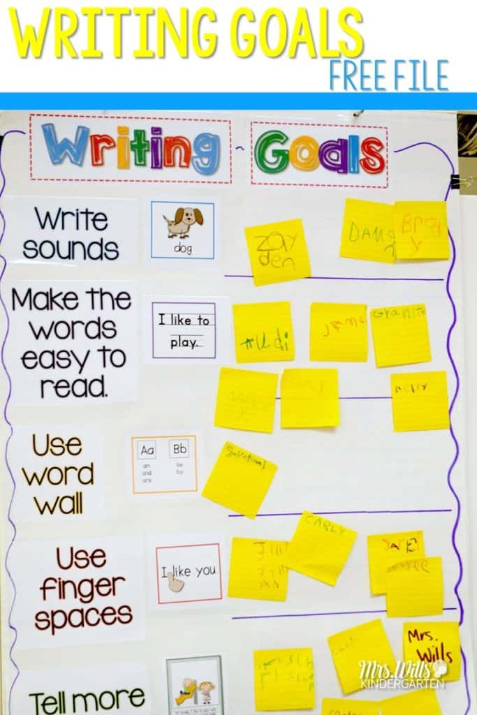 Kindergarten Writing Goals Chart. Grab this free Writers workshop goal chart and see student examples from my kindergarten classroom. You can also grab the student writing paper in this blog post. #writersworkshop #writinggoals #kindergartenwriting