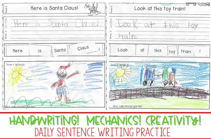 Handwriting practice for kindergarten and sentence writing! Looking for (simple!) ways to help your students work on their writing skills? Check out these kindergarten handwriting worksheets and sentence mechanics resources! FREE file too!