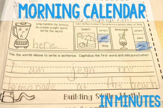 Kindergarten calendar time! Here's how we do it in my classroom works on math and literacy skills in just a few minutes each day. Watch the video and see how we use these worksheets to build our skills.