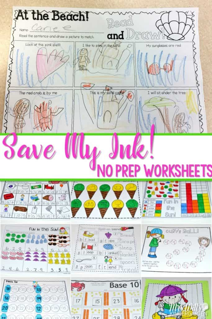 kindergarten no prep worksheets! Are you short on time, but still want to give your students quality activities to work on? Check out these printable kindergarten no prep worksheets!