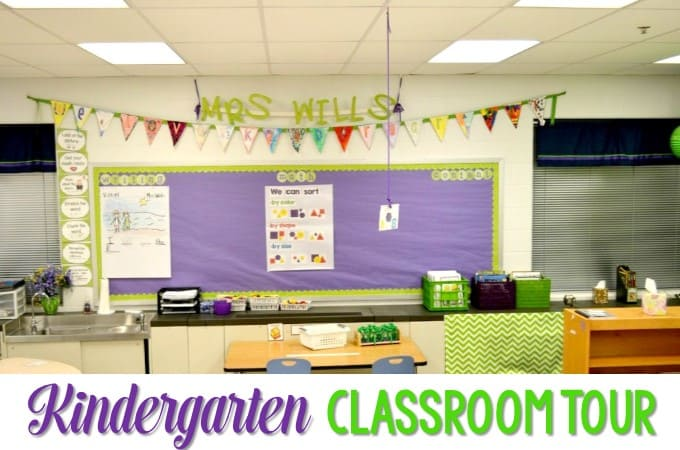 Kindergarten Classroom Tour! Looking for ideas to organize your classroom at the beginning of the year? Need lesson plans to start the year off? This post will give you some easy ideas and tips!