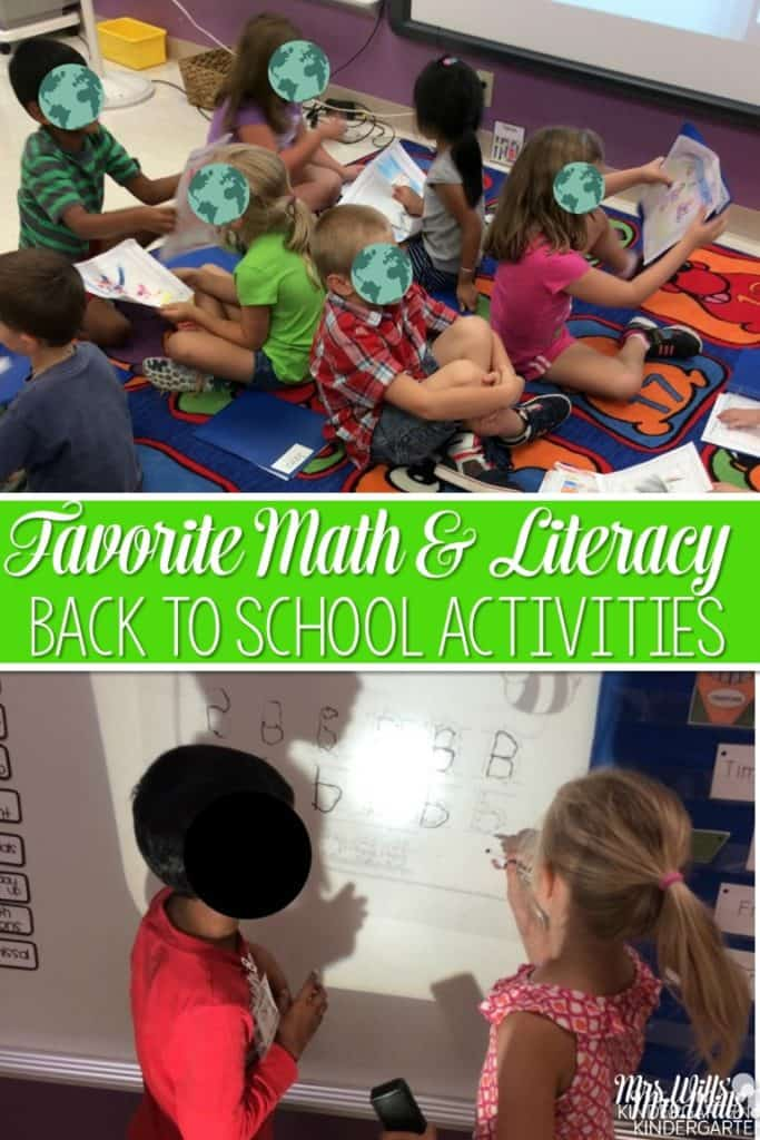 Favorite classroom activities for the beginning of the year. These back to school centers and ideas are perfect for kindergarten. Math, reading, and writing ideas are included.