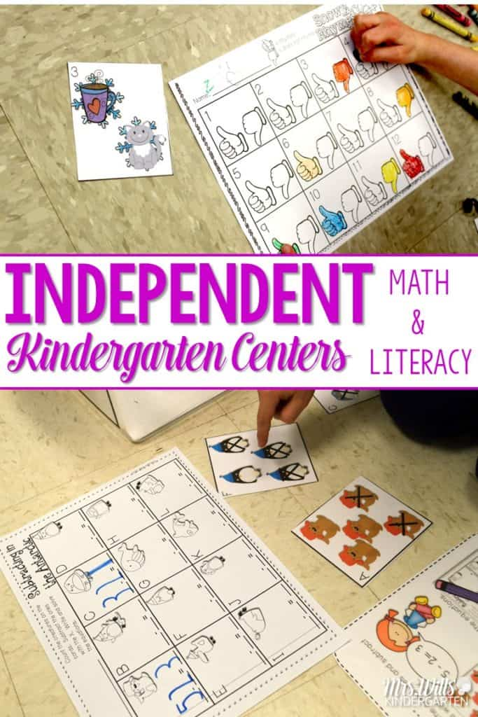 Are you needing some extra time in the classroom for working with small groups? Check out these kindergarten independent work stations for math and literacy. These student centers include activities for phonics, phonemic awareness, word work, addition and subtraction included.