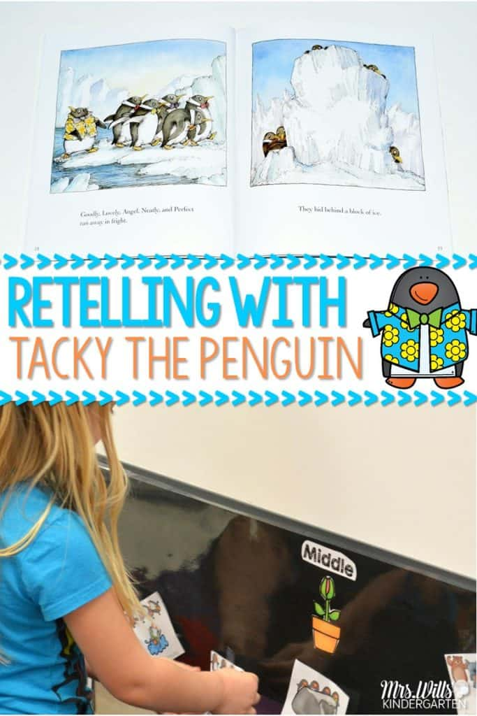 kindergarten penguin lesson plans featuring Tacky the Penguin. Students work on retelling the story while building comprehension strategies! Check out these kindergarten penguin lesson plans and pictures of my students going through this unit!. Science lessons and centers too!