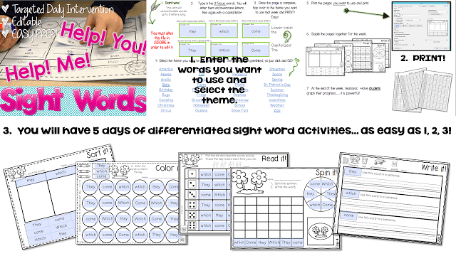 Would you like to know how to make your sight word intervention easy? It's hard... isn't it. When you look at the needs of your district, then the needs of your classroom, then the needs of your individual students, it can be challenging to make an easy sight word intervention that is tailored to the INDIVIDUAL CHILD! Here's my simple solution.
