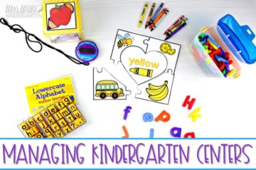 Managing kindergarten centers can be overwhelming! Check out these 10 tips to make the most of your center time without losing your mind! This post will help simply your center management and help you fit it all in!
