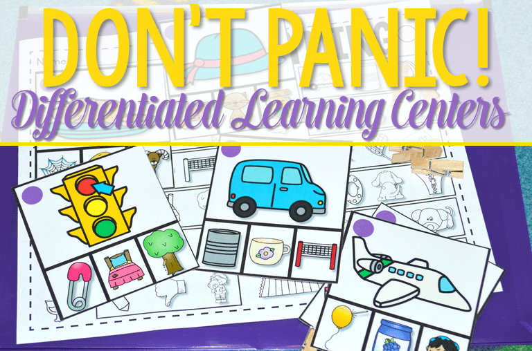 Differentiated Learning Centers! Don't panic! I have come up with ways to offer differentiation for your kindergarten learning activities. Rhyming is the first phonemic awareness activity. I will be adding additional skills including math.