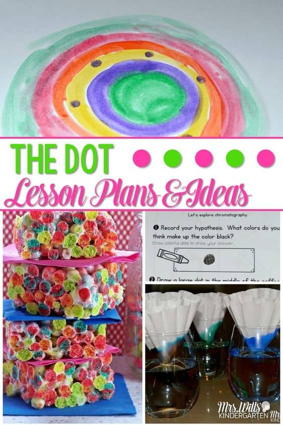 The Dot Lesson Plans are HERE! This fantastic book is perfect for elementary classrooms. Math and literacy center ideas, art, craft, snack, reading, writing and more! Make International Dot Day fun with these activities and lesson plans.