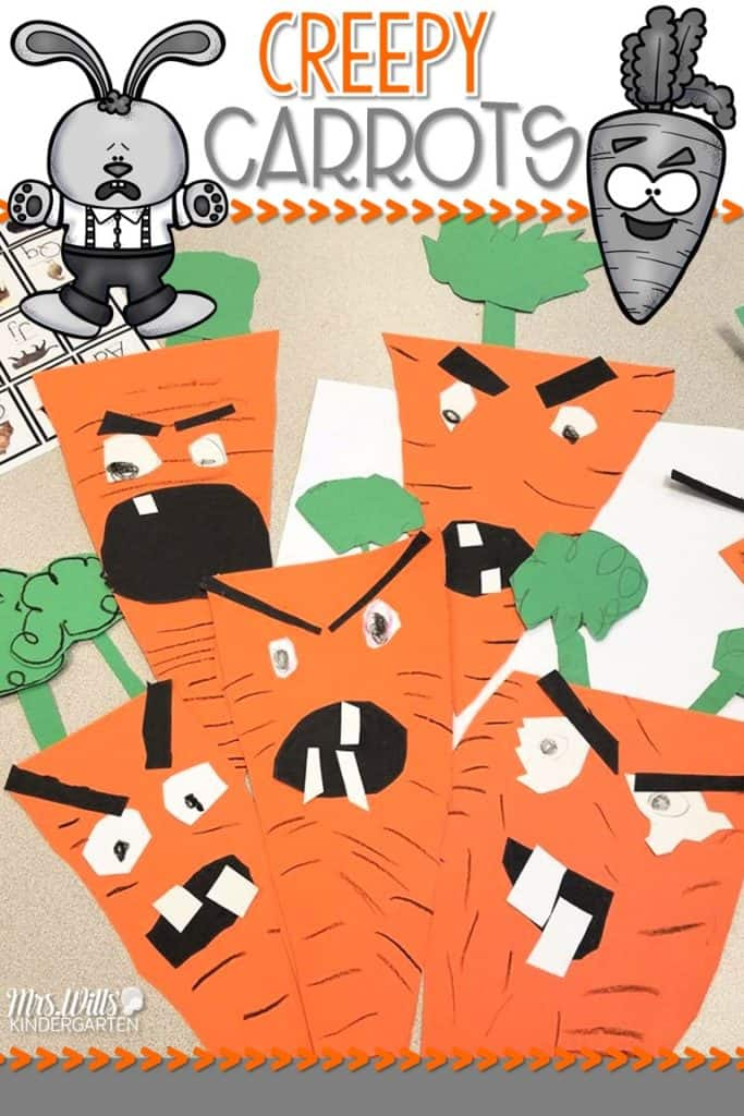 Creepy carrots lesson plans for the week are here! See how we use this book for a close reading lesson plan. You will also find a fun craft activity to go with the book!