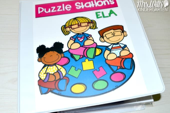 Literacy Centers Organizing Classroom Puzzles. Kindergarten loves puzzles, but center management and organization can get out of hand. Let me show you how to organize these learning centers and printables. Puzzles include alphabet, beginning sounds, digraphs, short and long vowels, and CVC word families.