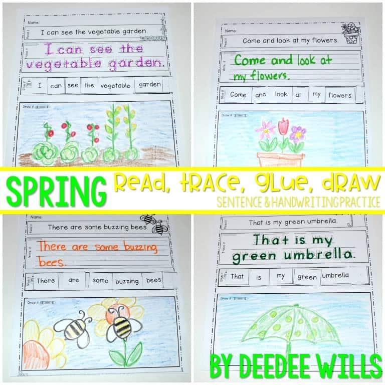 Spring Sentences and Handwriting Practice for Kindergarten.