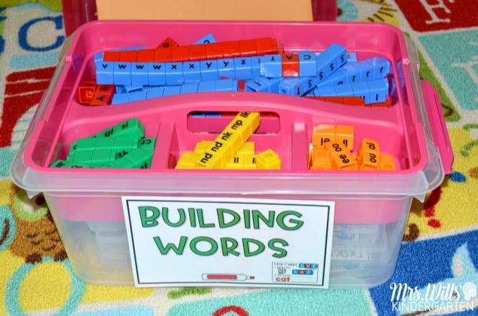 Building Words Word Work with Cubes. Over 350 task cards for Kindergarten and first grade for initial sounds, blends, digraphs, CVC, CVCe, and vowel teams.