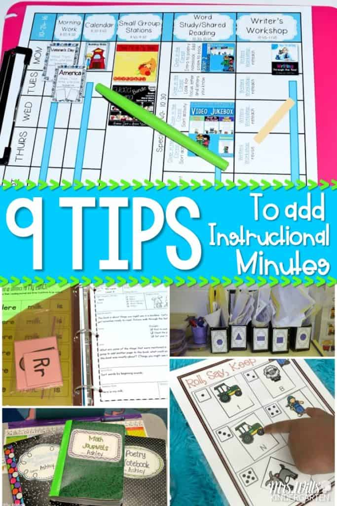Classroom Time Saving Tips for Kindergarten. Do you never seem to have enough time? Let me share a few organization and management tips that will add up to more instructional time for your students.