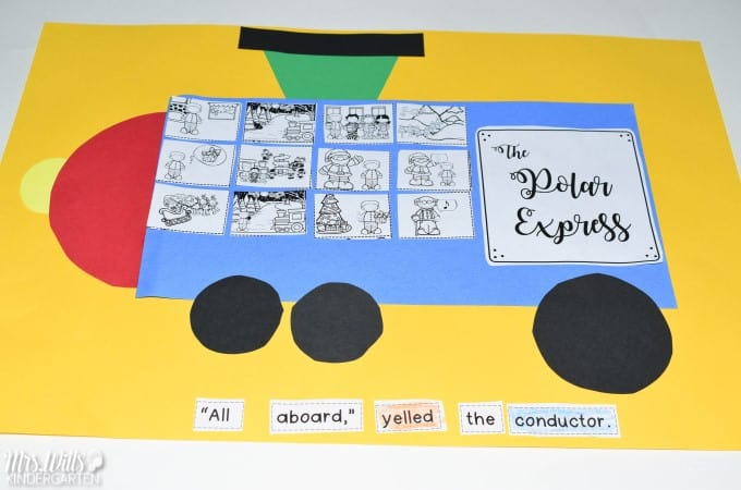 Polar Express Classroom Activities for kindergarten and first grade. Students will retell the story, make connections, complete a craft, plus math and literacy center activities. Worksheets to make this fun Christmas resource easy to prep with tons of learning!
