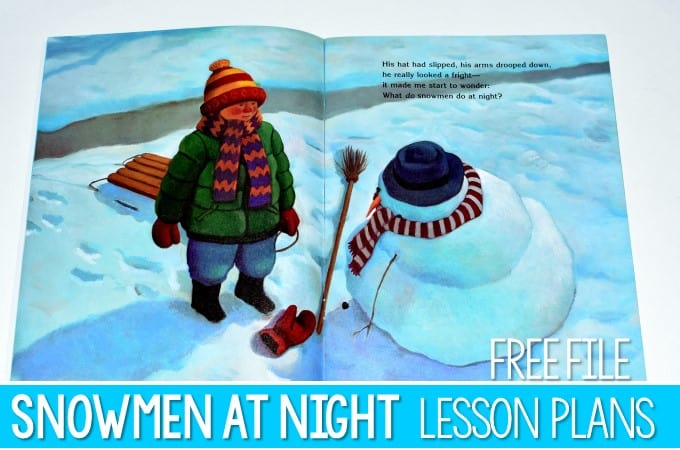 Snowmen at Night Lesson Plans for Kindergarten or First Grade with a free file. These reading comprehension activities will have students visualizing or making mental images, making connections, retelling text details, and creating a cute snowman craft. Students also have math and literacy activities and a STEM challenge!
