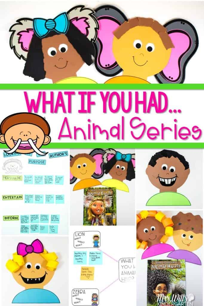 What if you had animal parts lesson plans for kindergarten and first grade. We focused on learning about text details with these great books from Sandra Markle. Activites for What if you had animal hair?, What if you had animal feet?, What if you had animal teeth? and What if you had animal ears? Crafts and text detail anchor charts are also included.