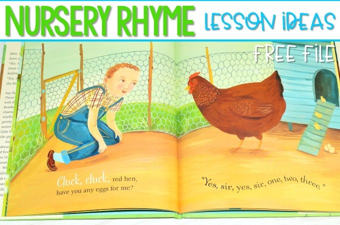Nursery Rhyme Lesson Plans for Kindergarten! Nursery rhyme read aloud books, poems and songs for shared reading, math centers and literacy centers for back to school time. Plus a FREE download!