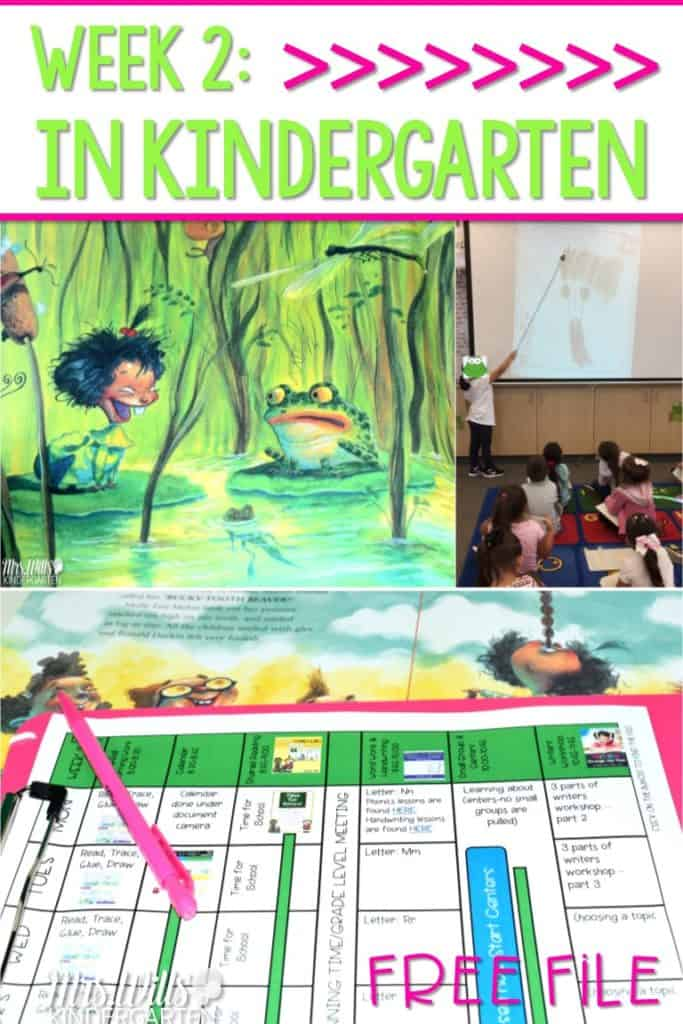 Kindergarten Lesson Plans Week 2 featuring ideas for Stand Tall Molly Lou Melon. Reading, writing, math, and center activities too. Download the free editable lesson plan template!
