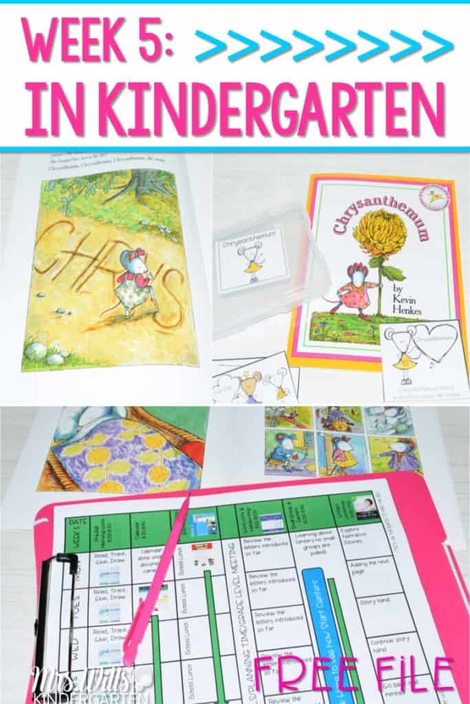 Kindergarten Lesson Plans Week 5 featuring ideas for Chrysanthemum reading, writing, math, and center activities too. Download the free editable lesson plan template.