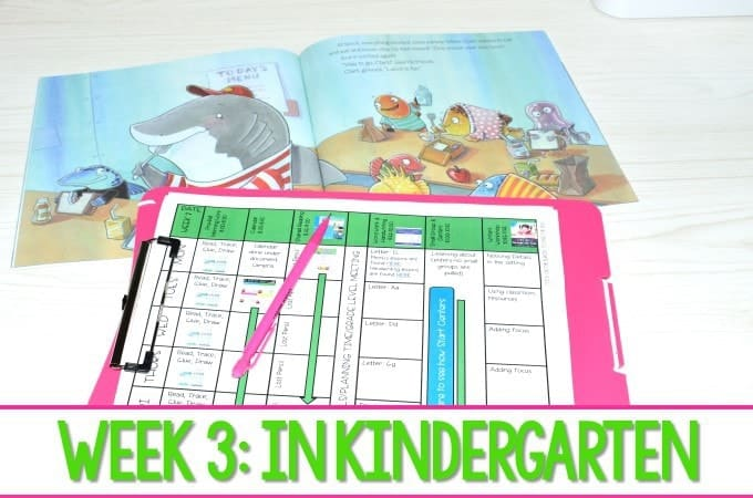 Kindergarten Lesson Plans Week 3 featuring ideas for Clark the Shark Reading, writing, math, and center activities too. Download the free editable lesson plan template!