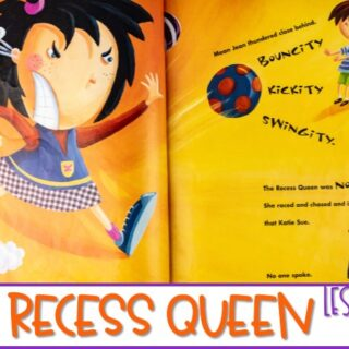 The Recess Queen activities. Kindergarten and First-grade lesson plans featuring ideas for The Recess Queen. Reading, writing, math, STEM, craft and center activities, too!