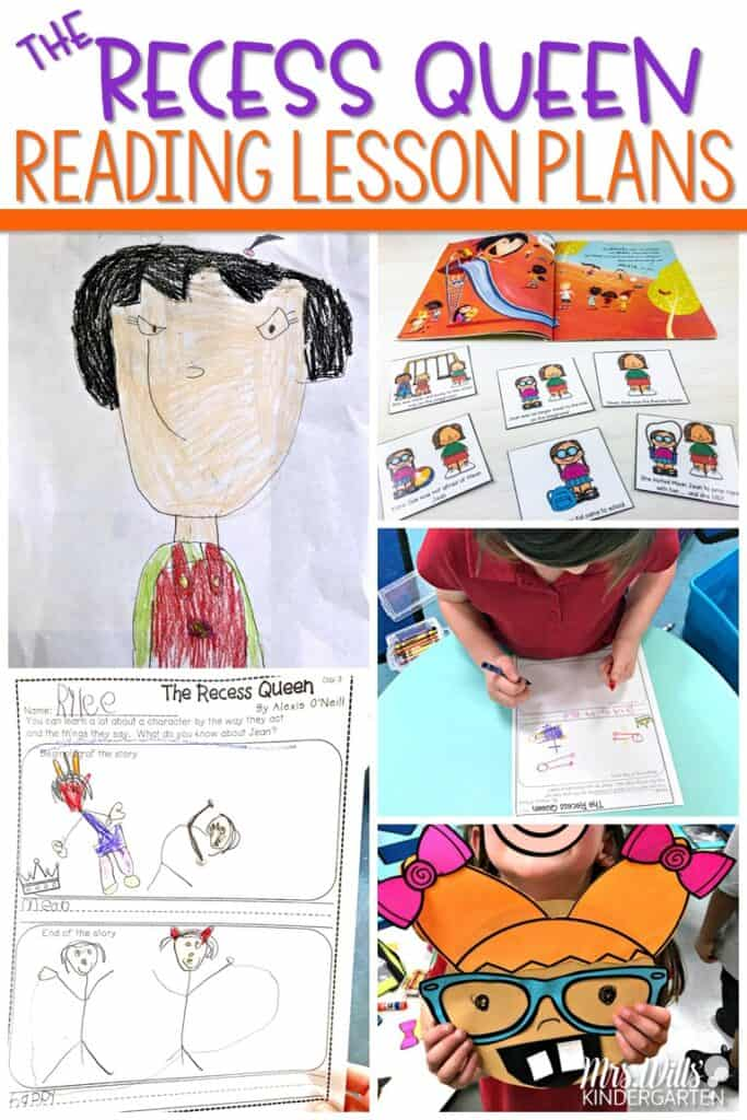 The Recess Queen activities. Kindergarten and First-grade lesson plans featuring ideas for The Recess Queen. Reading, writing, math, STEM, craft and center activities, too! #therecessqueenactivities #meanjean #readinglessonplans #centerideas