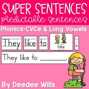 Predictable Sentences | Simple Sentences PHONICS CVCe and Long Vowels