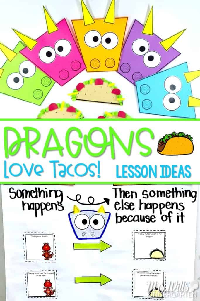 Dragons Love Tacos Lessons and Ideas! This book is perfect for kindergarten, first grade or second grade students. Reading comprehension, responding to literature, predicting, cause and effect, sentence study, and more fun activities! #dragonslovetacos #readingcomprehension #secondgradereading