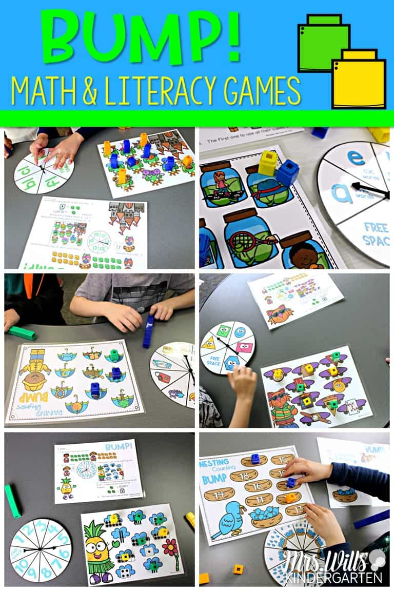 Bump games for your math & literacy centers or small group. Teach this simple and engaging game to your kindergarten class and swap out the skills to have a predictable center or station all year long!