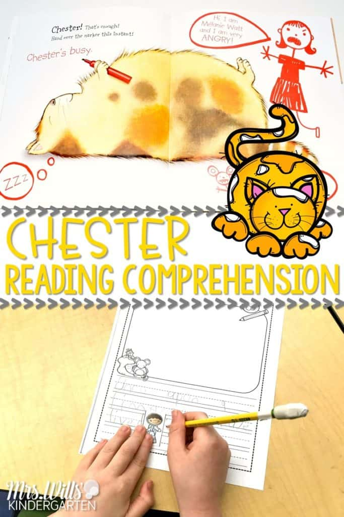 Chester Lesson Plans and Ideas for Kindergarten and First Grade. Reading comprehension, responding to literature, art, and center ideas!
