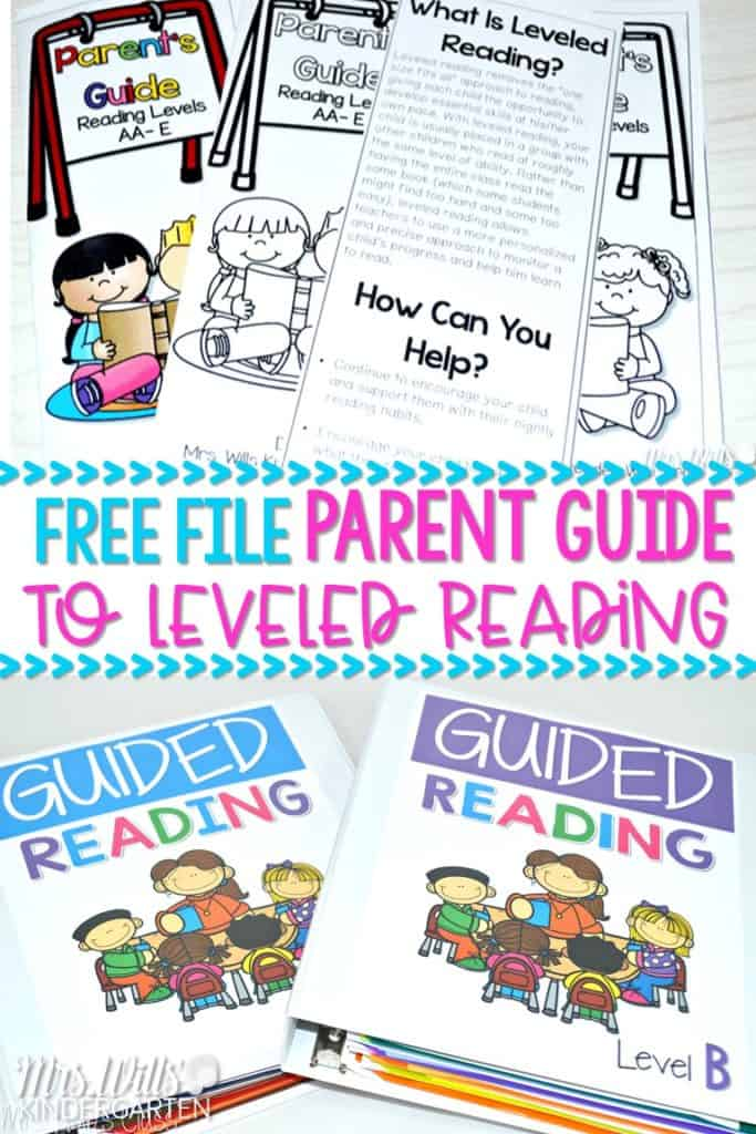 Leveled reading guide for kindergarten and first grade with a FREE Parent's Guide to Leveled Reading. Small group guided reading is a perfect way to differentiate your student's learning. Keep parents in your classroom by adding this communication tool.