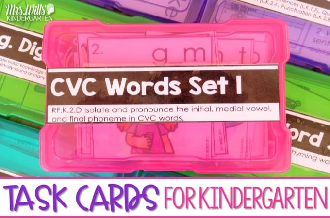 Task cards for kindergarten that focus on Math and Language Arts standards. These self-paced task cards with two levels of responses will simplify the differentiation process in your classroom.
