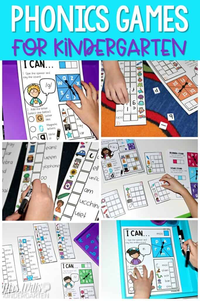 Classroom phonics games to support beginning and ending sounds, blends, digraphs, CVC & CVCe words. Your kindergarten students will love racing each other to complete their game card in these fun phonics activities. #kindergartenphonics #classroomphonicsgames #kindergartenactivities