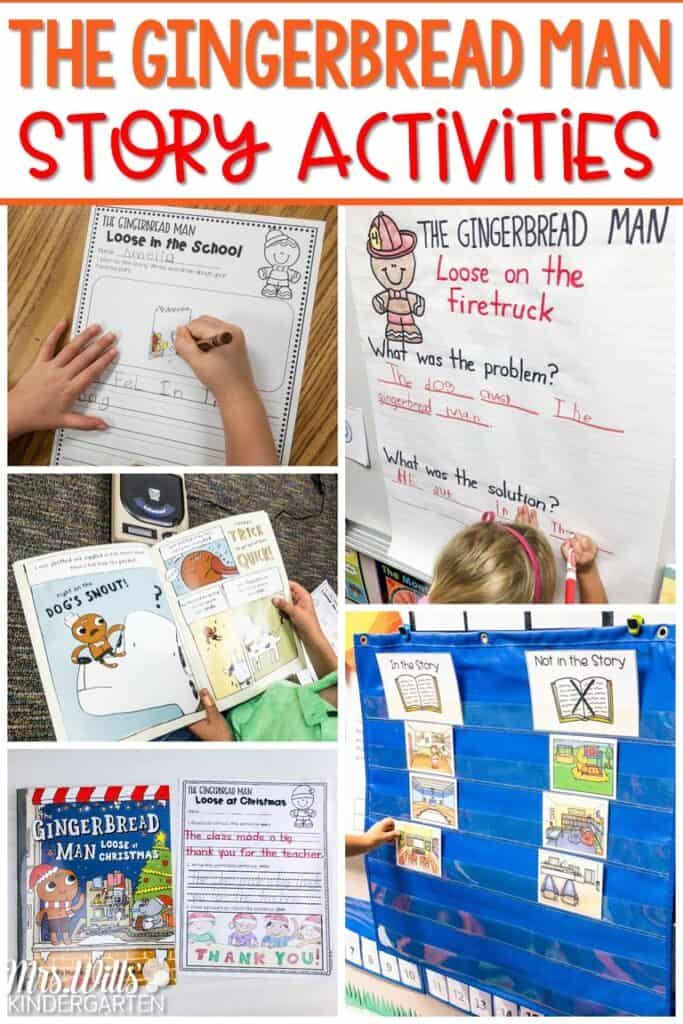 Gingerbread Man story activities for your Listening Center or Whole-Group lessons! Five Gingerbread Man books to use throughout the year. Your students will love reading about the Gingerbread Man Loose in the School, at the Zoo, on the Firetruck, and at Christmas! #thegingerbreadman #storyactivities #listeningcenter