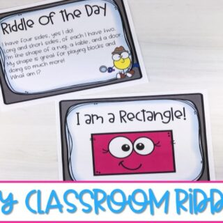 These daily classroom riddles for kindergarten and first grade will get your students excited each day as they guess the answer to fun monthly-themed riddles.