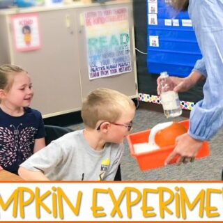 Pumpkin experiment for your kindergarten classroom. Your students will have so much fun with this pumpkin volcano experiment with math activities to practice comparing numbers and making 10. Reading lesson ideas are included, as well!