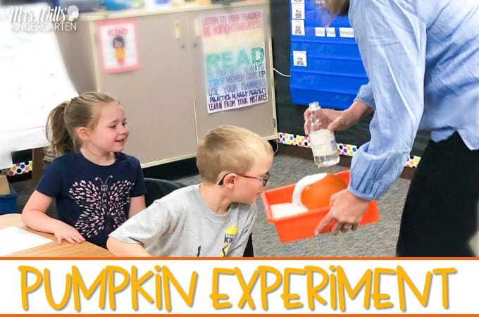 Pumpkin experiment for your kindergarten classroom. Your students will have so much fun with this pumpkin volcano experiment with math activities to practice comparing numbers and making 10. A shared reading aloud idea, too!