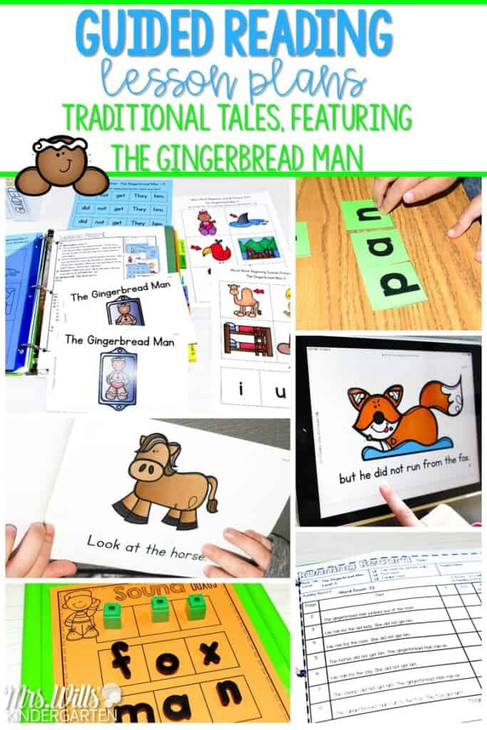 Guided reading lesson plans for your favorite traditional tales! Printable and digital books along with various resources to engage your students during small group guided reading. Great for kindergarten and first grade. Check out these ideas for The Gingerbread Man! #guidedreadinglessonplans #thegingerbreadman #traditionaltales