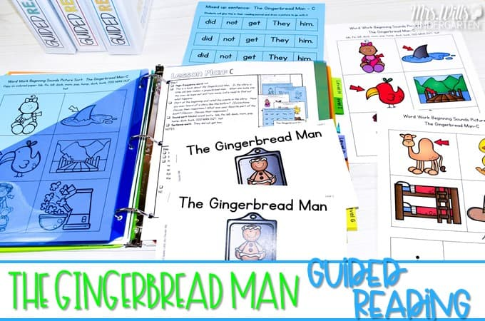 Guided reading lesson plans for your favorite traditional tales! Printable and digital books along with various resources to engage your students during small group guided reading. Great for kindergarten and first grade. Check out these ideas for The Gingerbread Man!