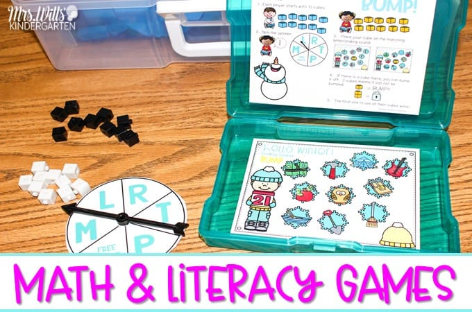 Math and literacy games for kindergarten and first grade. Monthly themed games that are perfect for centers and stations. They also work great as a small group activity.