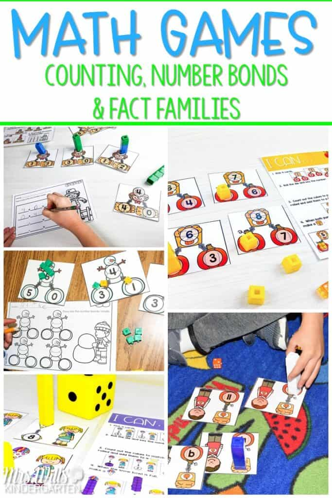 Fact family games and centers for your primary classroom. With these editable activities, students practice counting numbers, number bonds, and fact families. #factfamilygames #numberbonds #primarymath