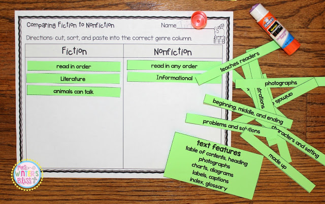 Comparing Fiction and Nonfiction worksheet