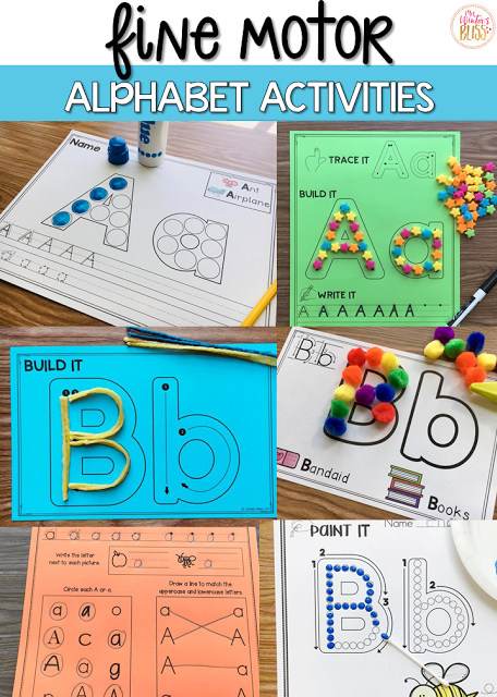 Fine motor alphabet activities are a fun learning center for preschool and kindergarten kids. In this blog post get free printables to use with your children today!