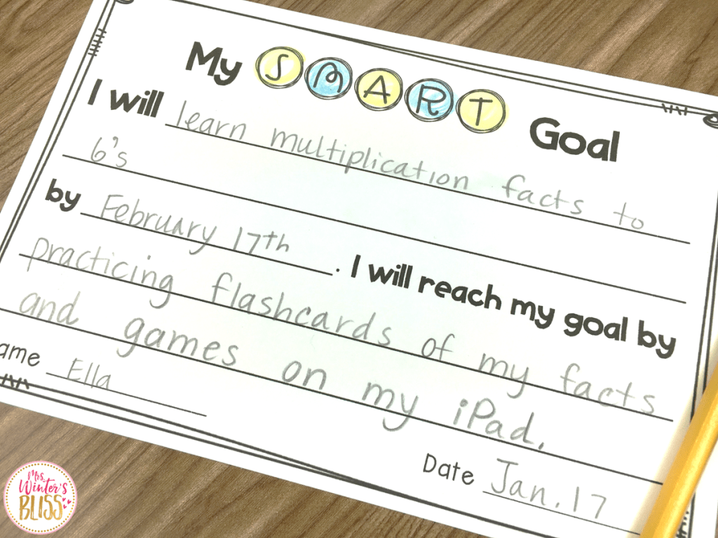Goal Setting With Elementary Students Mrs Winter S Bliss