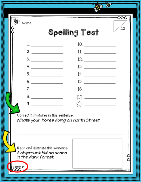 3rd grade spelling test assessments