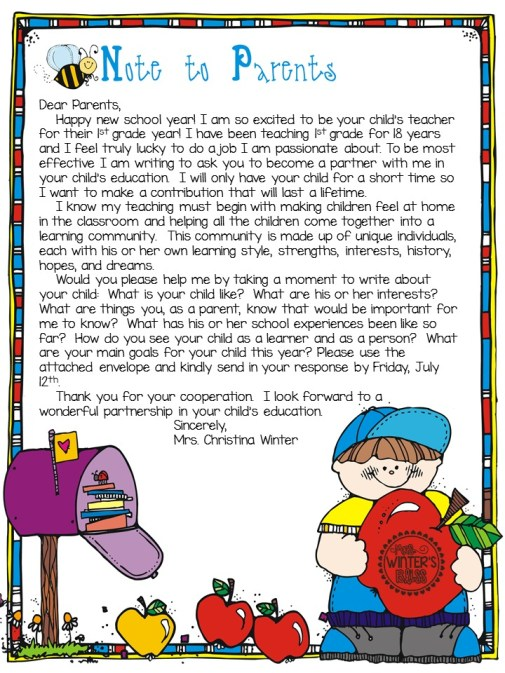 parent letter to the teacher